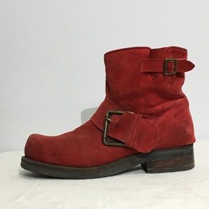 JEFFREY CAMPBELL Red Suede Booties boots buckles